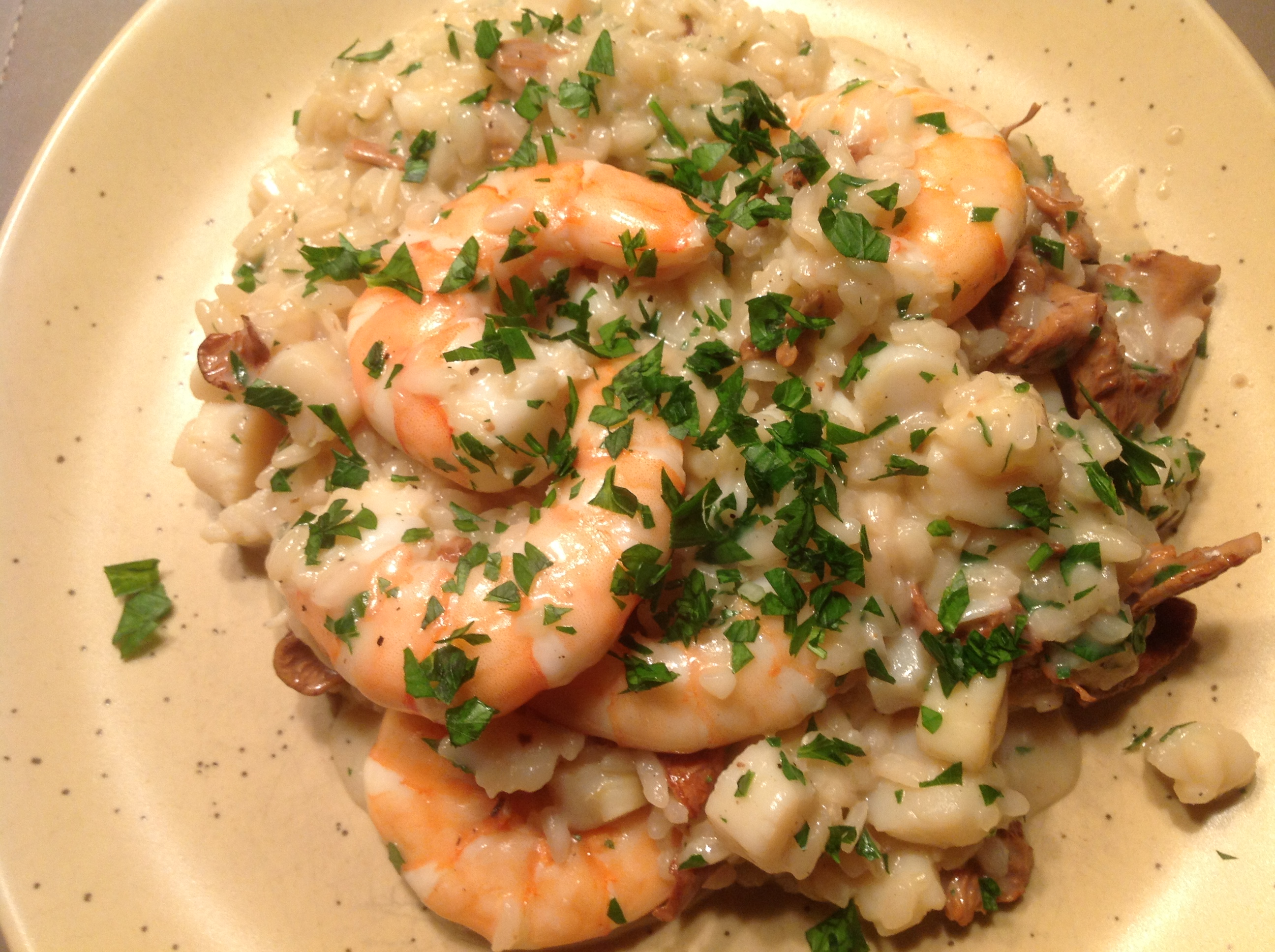 Seafood Risotto with Wild Mushrooms - sprinkles and sauce