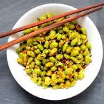 Garlic Parmesan Edamame with Toasted Black Sesame Seeds