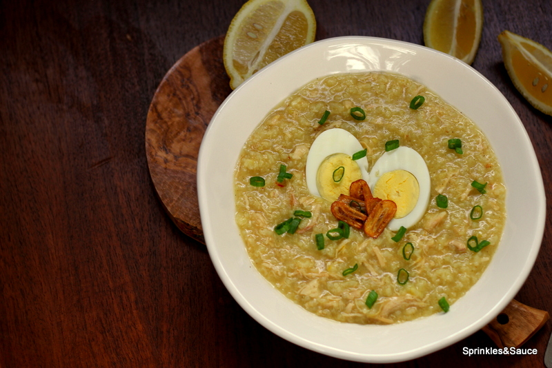 Arroz Caldo with Chicken and Garlic Chips