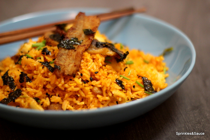 Kimchi Fried Rice with Crispy Pork Belly