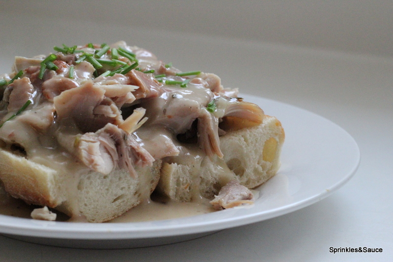 Open Faced Hot Turkey Sandwich Smothered with Turkey and Bacon Gravy