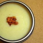 Potato and Leek Soup Topped with Crispy Bacon