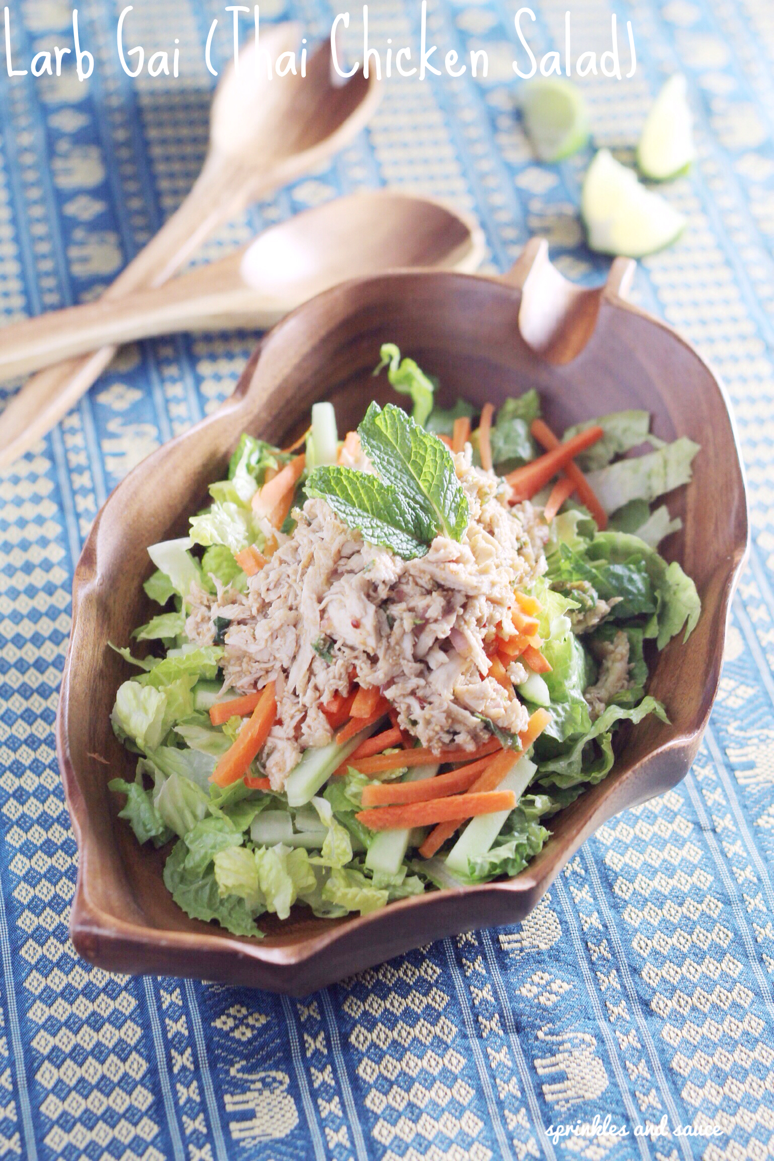 Larb Gai (Thai Chicken Salad) - sprinkles and sauce