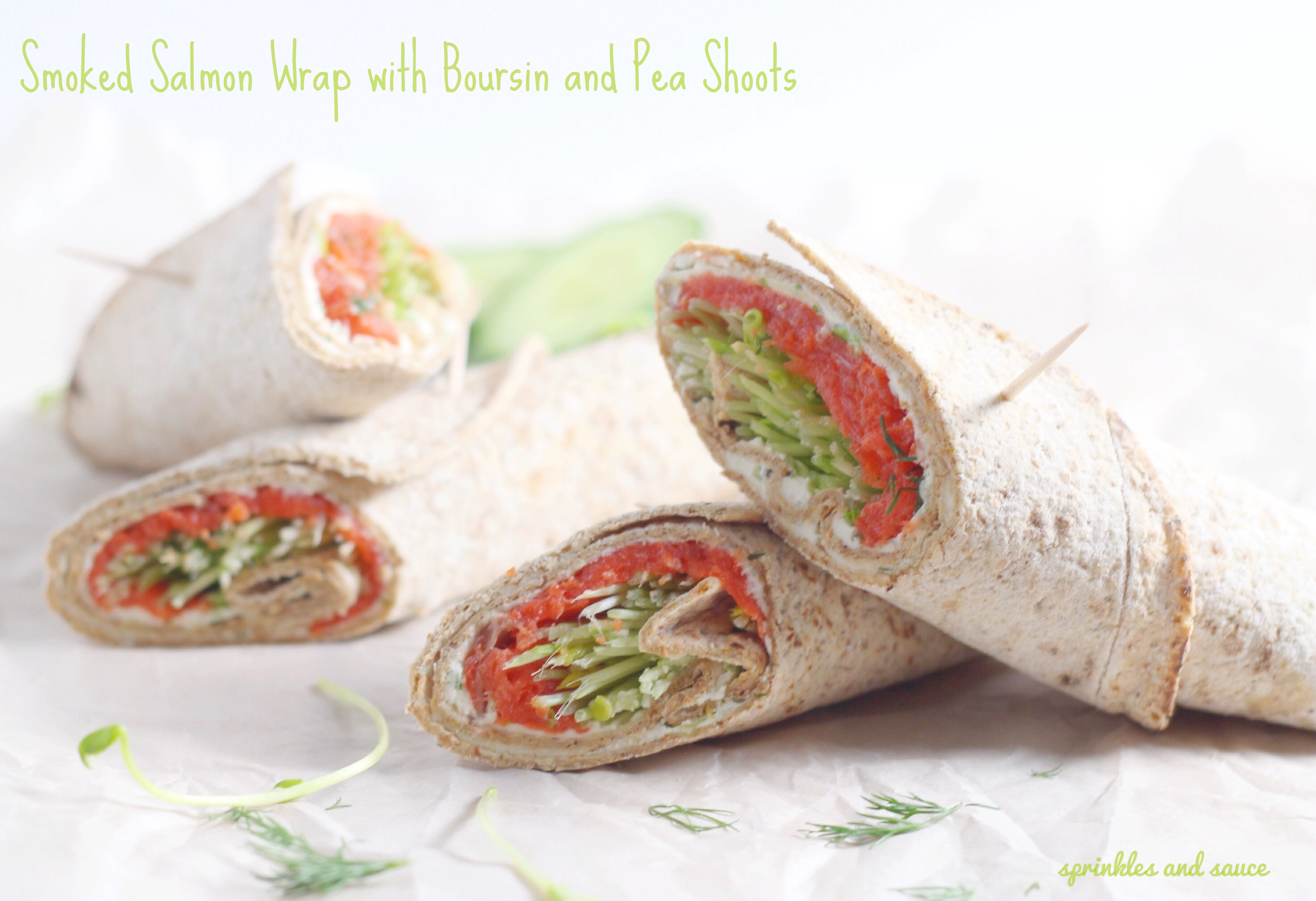 Smoked Salmon Wrap with Boursin and Pea Shoots