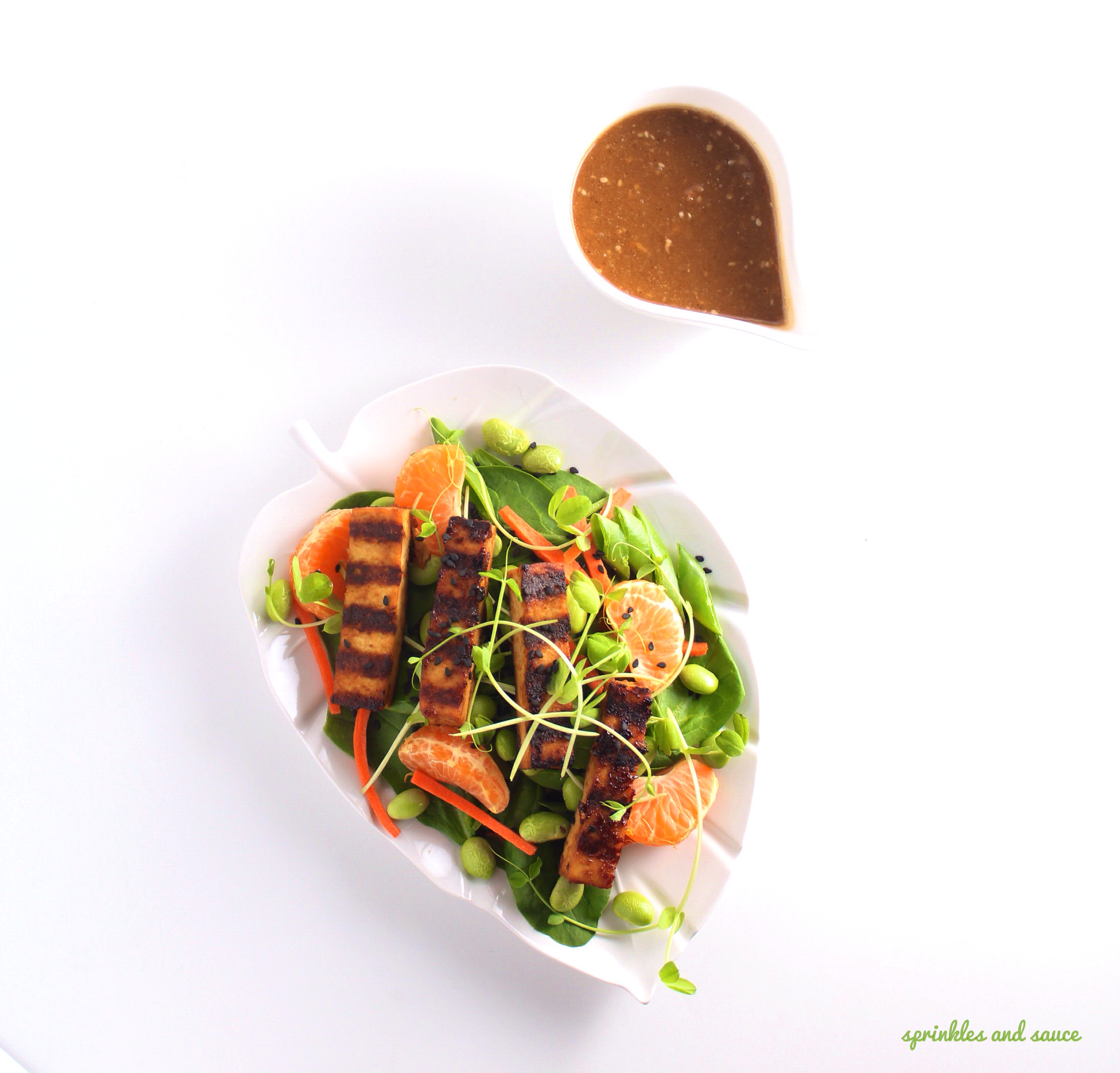Tofu and Spinach Salad with Asian Sesame Dressing - sprinkles and sauce