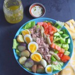 Tuna and Egg Salad with French Vinaigrette Dressing
