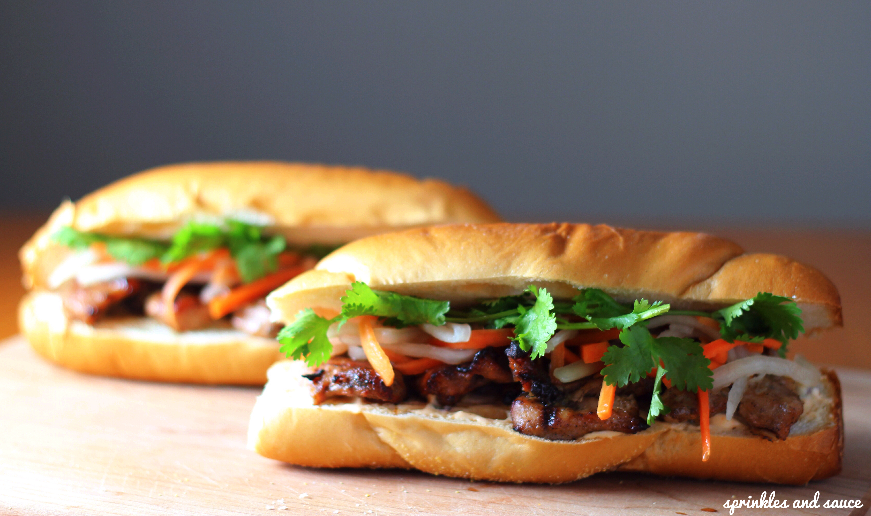 Lemongrass Pork Banh Mi - sprinkles and sauce