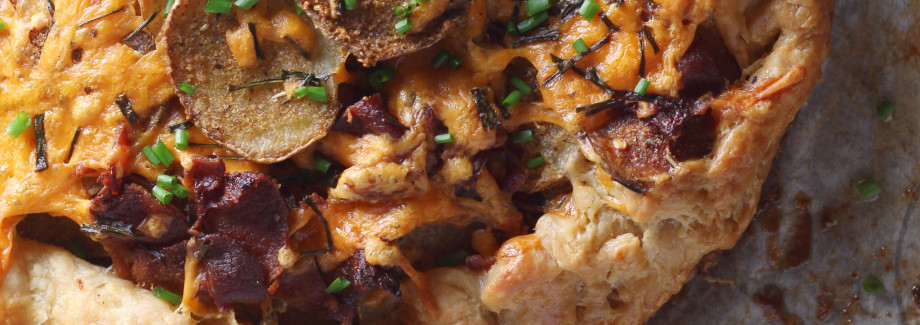 Roasted Potato Galette with Bacon, Cheddar and Chives