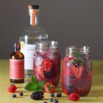 Smashed Berries Spritzer with White Rye and Rhubarb Bitters