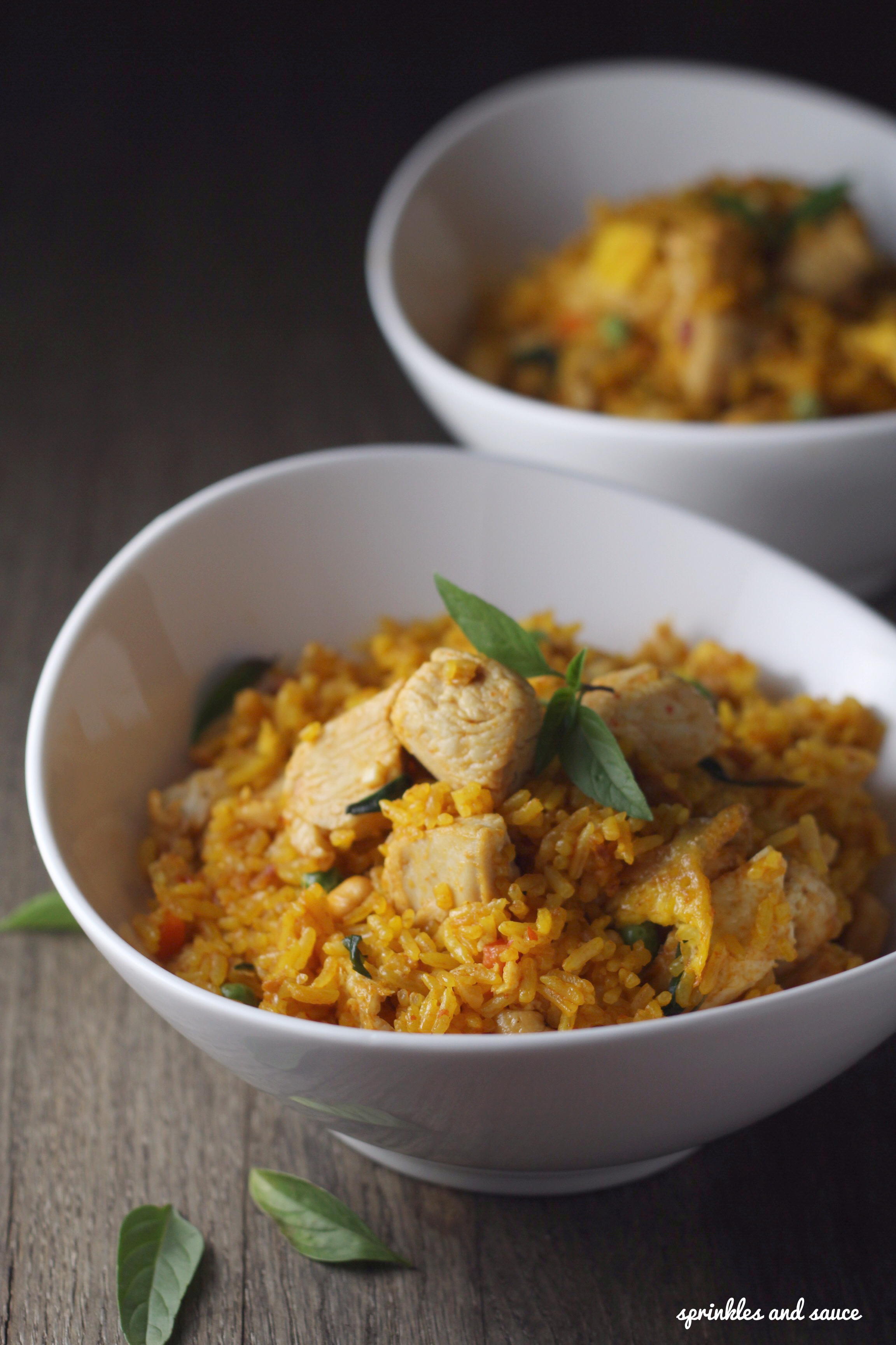 Thai Red Curry Fried Rice with Chicken