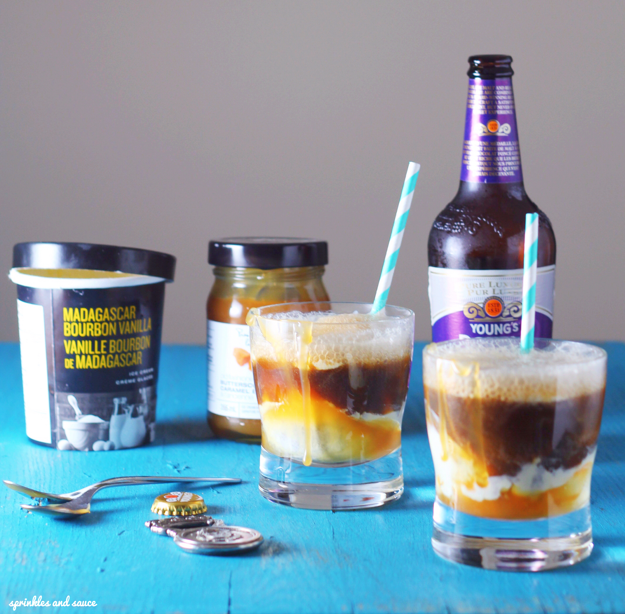 Stout Float with Caramel Sauce