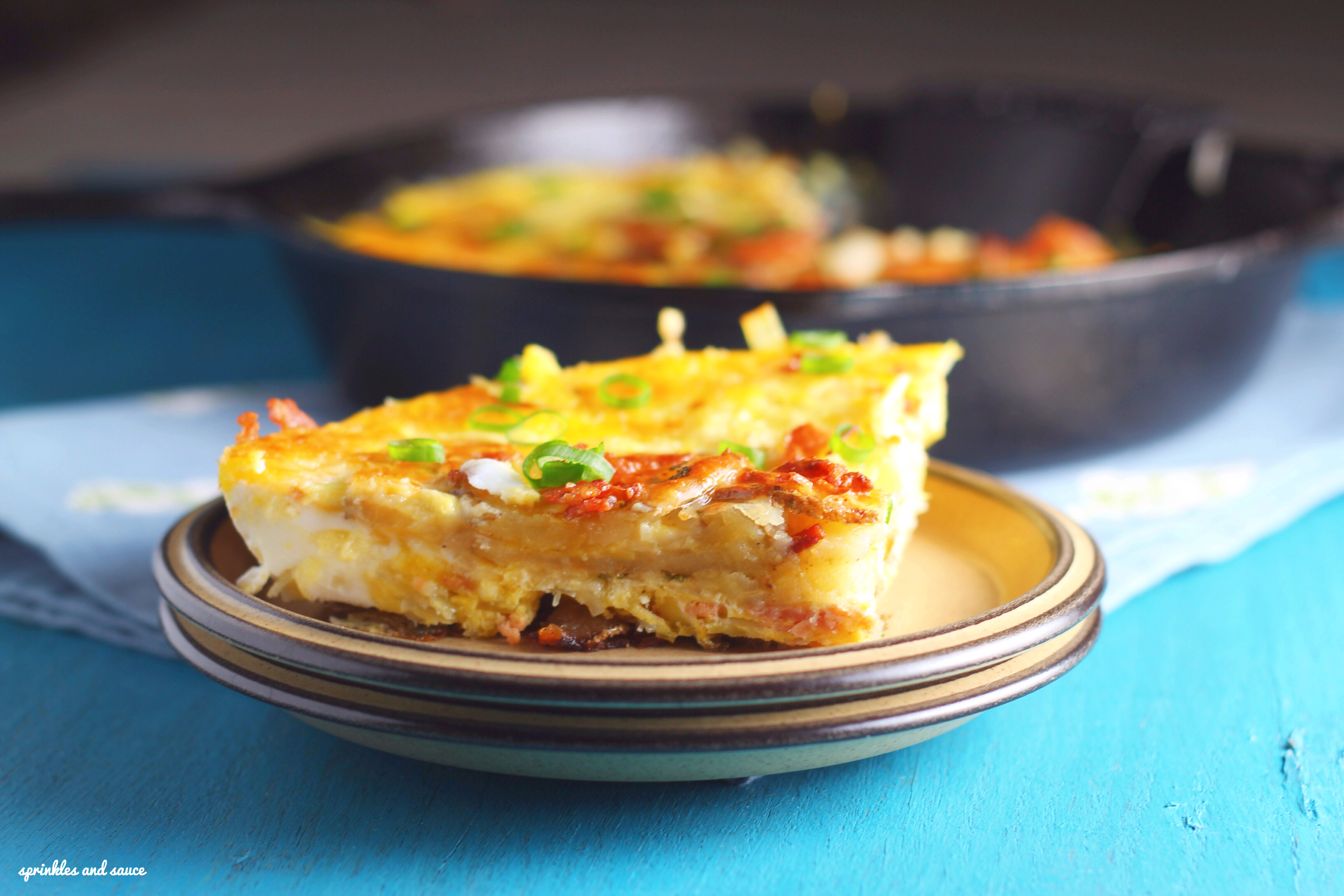 Bacon, Leek and Potato Frittata - sprinkles and sauce