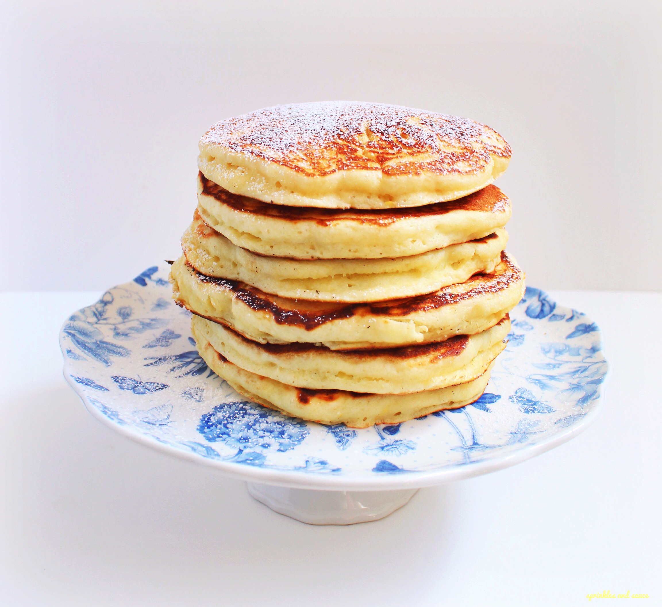 Lemon Ricotta Pancakes - sprinkles and sauce
