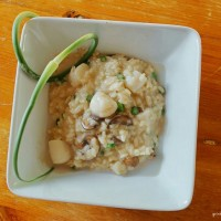Risotto with Scallops, Mushrooms and Garlic Scapes 3