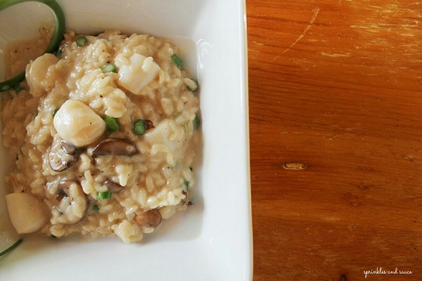 Risotto with Scallops, Mushrooms and Garlic Scapes