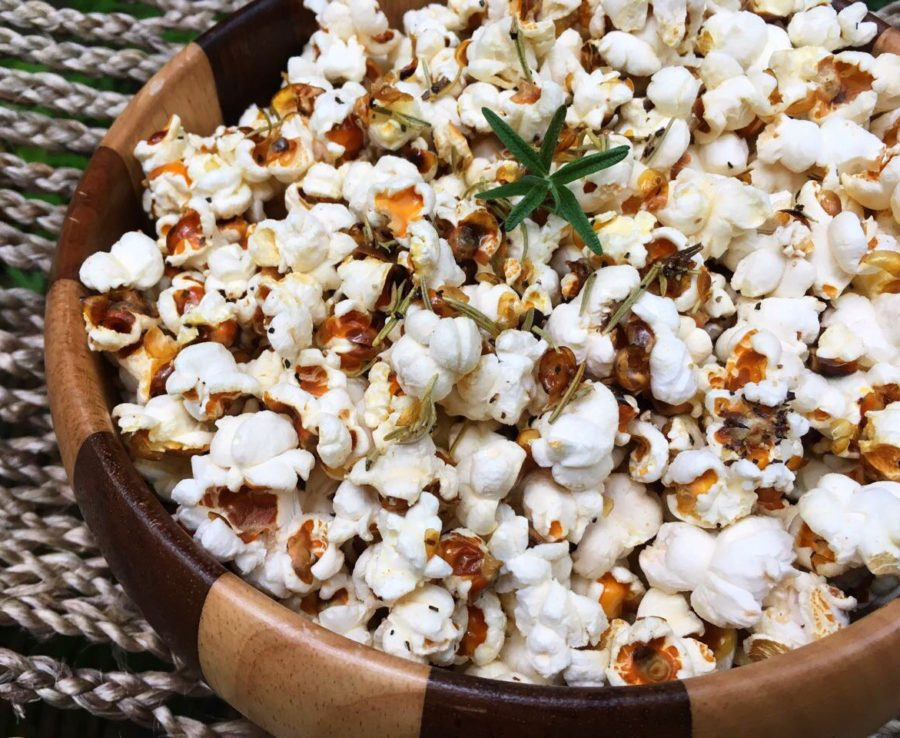garlic + rosemary popcorn