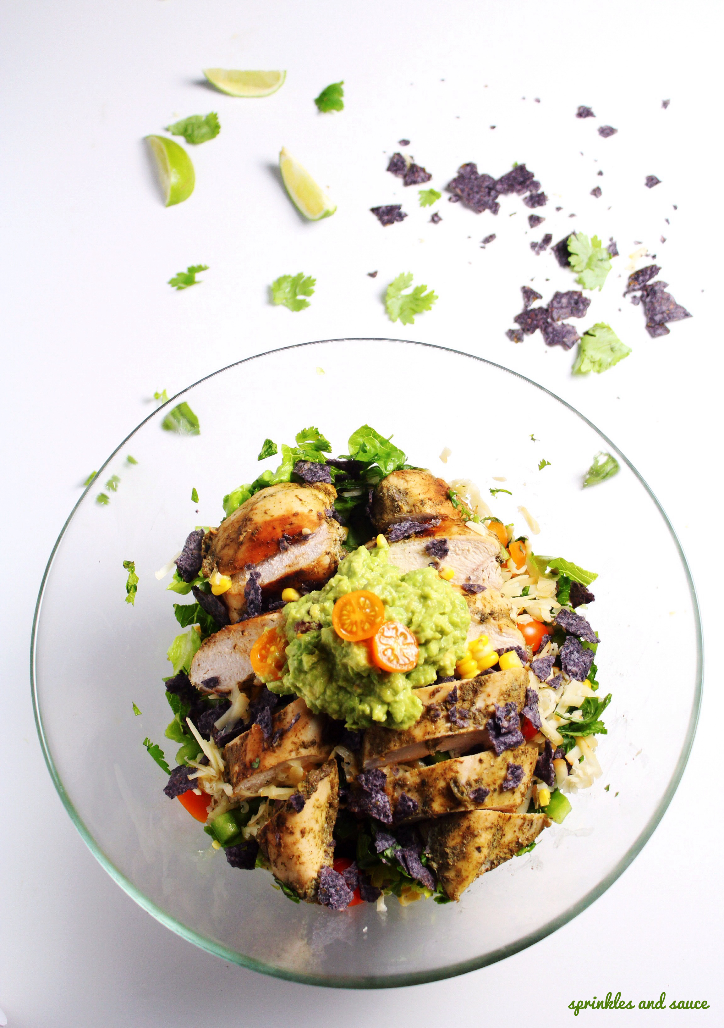 Mexican Chopped Salad With Grilled Chicken And Guacamole Sprinkles And Sauce